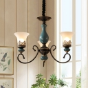 3/5/6 Bulbs Bell Up Ceiling Chandelier Farmhouse Black Finish Frosted Glass Pendulum Light with Blue Ceramics Detail