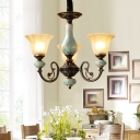 3/5/6-Head Suspension Light with Morning Glory Shade Tan Glass Country Living Room Ceramics Chandelier in Black-Gold
