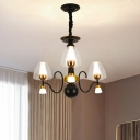 3/5/6 Lights Hanging Light Kit with Cup Shade Clear Glass Farmhouse Living Room Chandelier in Black and Gold