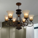 Traditional Scroll Arm Ceiling Chandelier 6/8 Bulbs Metallic Pendulum Light with Bell Frosted Opal Glass Shade in Black-Gold