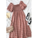 Vintage Girls Plaid Pleated Ruffle Trim Square Neck Short Puff Sleeve Midi A Line Dress in Pink
