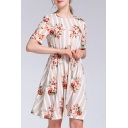Fashion Stripe Flower Printed Short Sleeves Crew Neck Bow Tied Waist Short A-line Dress