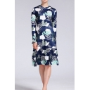Elegant Ladies All over Leaf Printed Long Sleeve Crew Neck Ruffled Hem Mid A-line Dress in Blue