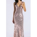 Banquet Ladies Gold Sequined Sleeveless V-neck Maxi Evening Fishtail Dress