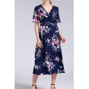 Casual All over Flower Printed Short Sleeve Surplice Neck Tied Waist Mid Wrap A-line Dress for Women