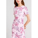 Vintage All over Flower Printed Short Sleeve Crew Neck Ruched Drawstring Ruffled Short Sheath Dress for Ladies