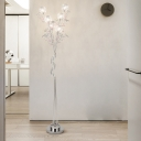 Pink/Silver Finish LED Stand Up Light Decorative Aluminum Wire Tree Floor Lamp in White/Warm Light