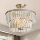 3-Bulb 2 Tiers Flush Light Fixture Minimalist Clear Crystal Semi Mount Lighting for Dining Room