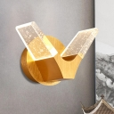Gold LED Wall Light Sconce Postmodern Style Seeded Crystal V Shaped Wall Mount Lighting