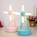 Windmill LED Table Lamp Cartoon Acrylic Kids Bedside USB Music Night Light in Blue/Pink