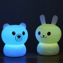 Bear/Rabbit USB Small Table Lamp Cartoon Rubber Bedroom LED Night Stand Light with Touch Sensor in White