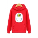 Mens Korean Style Sherpa Liner Cartoon Printed Long Sleeve Pouch Pocket Relaxed Fit Hoodie