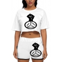 Popular Letter Cartoon Fish Graphic Short Sleeve Round Neck Loose Crop Tee & Contrasted Relaxed Shorts Set in White