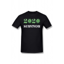 Cool Letter 2020 Survivor Printed Short Sleeve Crew Neck Slim Fit Relaxed T Shirt in Black