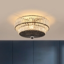 2-Layer Round Bedroom Ceiling Flush Simplicity Crystal 4 Lights Black Flush Mounted Lamp