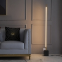 Simple Style Linear Standing Floor Light Metal Drawing Room LED Floor Reading Lamp in Gold