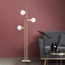 Bulb-Shape Standing Floor Lamp Postmodern Metallic 3 Lights Gold Finish Stand Up Light