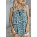 Amazing Girls Ditsy Floral Bow Tie Front Ruffled Trim Spaghetti Straps Relaxed Fit Cami Top