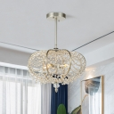 Silver Oval Frame Hanging Lighting Modern Crystal Swag 2-Bulb Living Room Ceiling Chandelier
