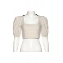 Trendy Womens Puff Sleeve Square Neck Bow Tied Open Back Zipper Detail Fitted Crop T-shirt in Apricot