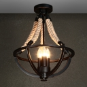 Black Bowl Frame Semi Flush Industrial Metal 3 Lights Living Room Close to Ceiling Lighting with Rope Rod