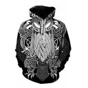 Stylish Men's 3D Print Drawstring Pocket Long Sleeve Loose Fitted Hooded Sweatshirt
