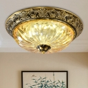 2/3-Head Flush Mount Lighting with Bowl Shade Ribbed Tan Glass Country Bedroom Flush Lamp Fixture in Brass, 12