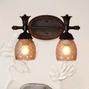 2 Bulbs Bell Vanity Wall Light Rural Rust Amber Lattice Glass Sconce Light Fixture