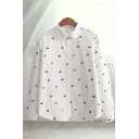 Popular Womens Allover Umbrella Printed Long Sleeve Turn down Collar Button down Loose Shirt Top