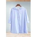 Casual Womens Solid Color Long Sleeve Hooded Button down Loose Shirt Top