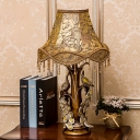 Peacock Bedside Accent Table Lamp Countryside Print Fabric 1 Bulb Gold Night Light with Fringe and Flared Fabric Shade