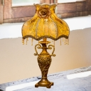 Victorian Dress Night Stand Light 1 Bulb Embroidered Fabric Table Lamp in Gold with Rose Decor