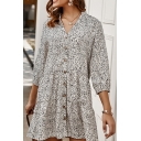 Pretty Ladies Ditsy Floral Printed 3/4 Sleeve V-neck Button down Ruffled Hem Short A-line Derss