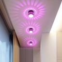 Modern Cutouts Circles Metal Flushmount LED Close to Ceiling Light in 7 Color Changing Light, Chrome