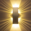 Modern Hollowed Out Cuboid Flush Mount Aluminum Living Room LED Wall Sconce Light in Silver