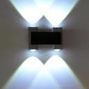LED Bar Wall Light Modern Style Black-Silver Flush Wall Sconce with Binoculars Aluminum Shade, Purple/Red/Yellow Light