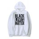 Trendy Guys Letter Black Lives Matter Printed Long Sleeve Kangaroo Pocket Loose Hoodie