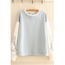 Popular Girls Floral Embroidered Contrasted Patched Long Sleeve Stringy Selvedge Crew Neck Relaxed Pullover Sweatshirt in Blue
