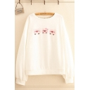 Casual Pig Print Long Sleeve Round Neck Loose Fit Pullover Sweatshirt for Women