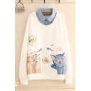 Preppy Girls False Two Piece Letter Cartoon Cat and Fish Graphic Long Sleeve Turn down Collar Relaxed Pullover Sweatshirt