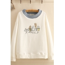 Lovely Girls Letter Family Cactus Embroidered Long Sleeve Contrasted Knitted Round Neck Pullover Sweatshirt
