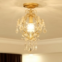 Scroll Frame Iron Semi Mount Lighting Post-Modern 1 Head Corridor Flush Ceiling Light in Gold with Crystal Drop