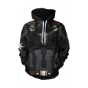 Creative Mens Black Geometric 3D Pattern Long Sleeve Drawstring Loose Fitted Hoodie with Pocket
