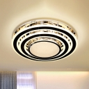 Stainless Steel LED Ceiling Lamp Modernism Crystal Round Flush Mounted Light Fixture for Bedroom