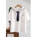 Preppy Girls Pocket Bear Printed Short Sleeve Striped Sailor Collar Tie Front Relaxed Tee Top