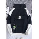 Fancy Mens Colorblock Letter Gulfs Printed Zipper Pocket Pullover Long Sleeve Mock Neck Regular Fit Sweatshirt