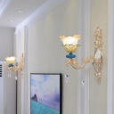 2-Layer Flower Frosted Glass Wall Lamp Rustic 1/2-Light Living Room Wall Mount Fixture in Gold