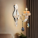 Single-Bulb Candle Sconce Light Fixture Traditional Gold Crystal Wall Mounted Light with Crystal Drop