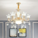 Gold 6 Lights Ceiling Chandelier Contemporary Clear Crystal Glass Flower Pendant Lamp Fixture