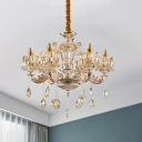 6 Lights Chandelier with Flower Shade Amber Glass Mid Century Living Room Hanging Ceiling Lamp